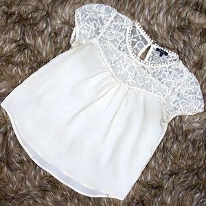 Monteau Ivory White Lace Top Babydoll Blouse Sz L